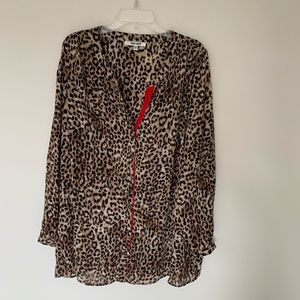 Daniel Rainn Leopard Print Button Up Blouse 2X